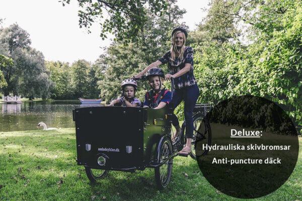 El Lådcykel med hydrauliska skivbromsar och anti-puncture däck